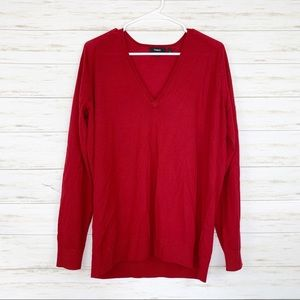 Theory | Red V Neck 100% Merino Wool Sweater